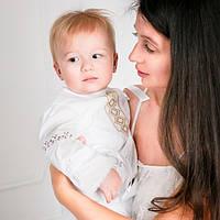 Крестильный костюм для мальчика Иванушка от Miminobaby от 12 до 18 месяцев, белый с золотой вышивкой