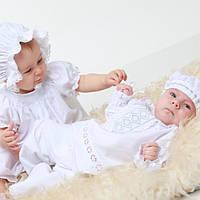 Крестильный костюм для мальчика Иванушка от Miminobaby от 3 до 6 месяцев, белый с серебряной  вышивкой