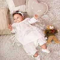 Набор для крещения Розали белый (рубашка, панталоны, шапка, пинетки, повязка) от  Battesimo от 6 до 12 месяцев