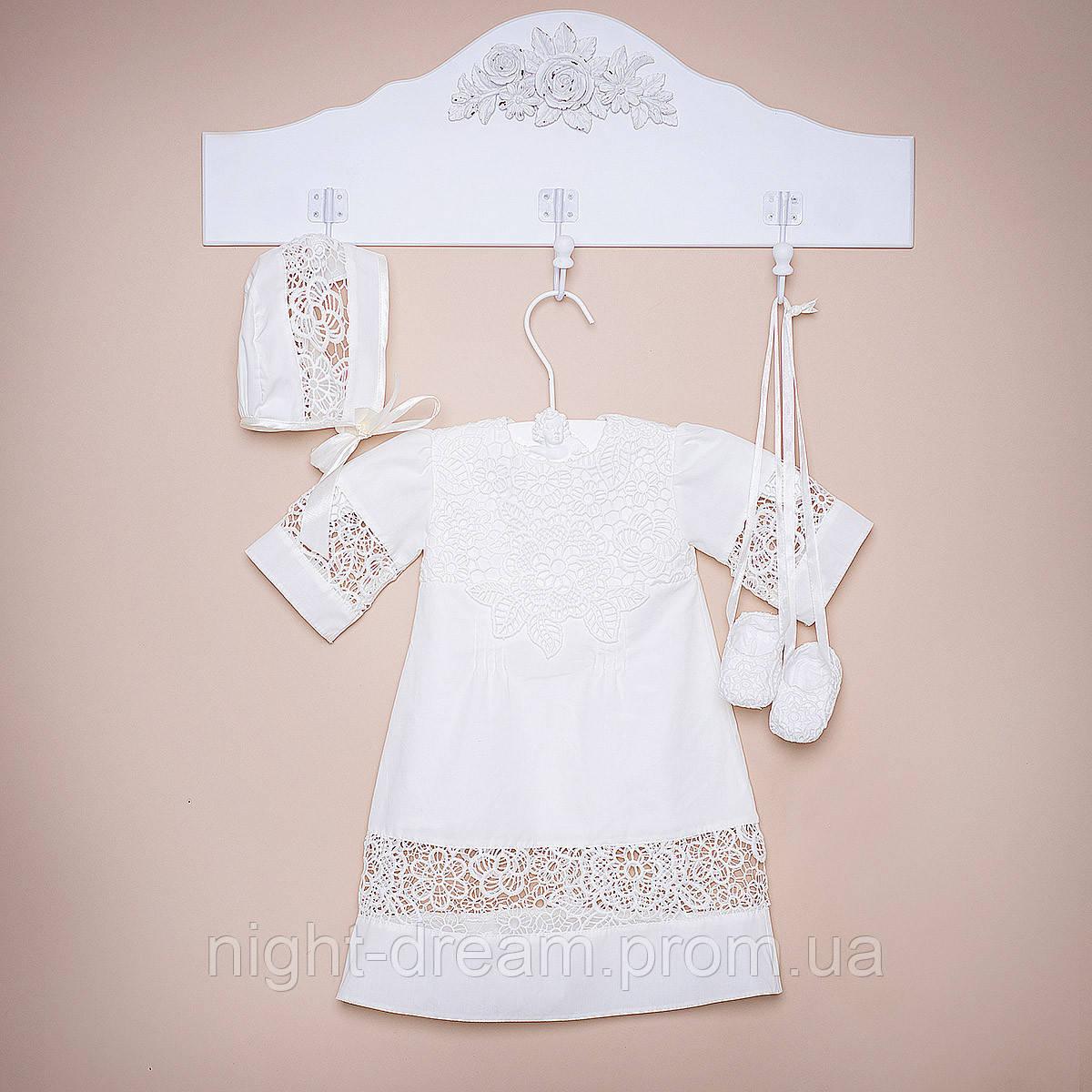 Крестильная рубашка Глаша (Глафира) от Miminobaby молочная от 12 до 18 месяцев