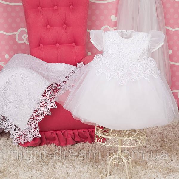 Нарядное платье Глафира от Miminobaby белое от 0 до 3 месяцев