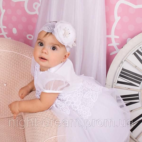 Нарядное платье Глафира от Miminobaby белое от 3 до 6 месяцев