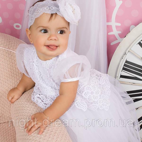 Нарядное платье Глафира от Miminobaby белое от 6 до 12 месяцев