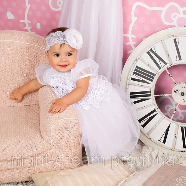 Нарядное платье Глафира от Miminobaby белое на 2 годика