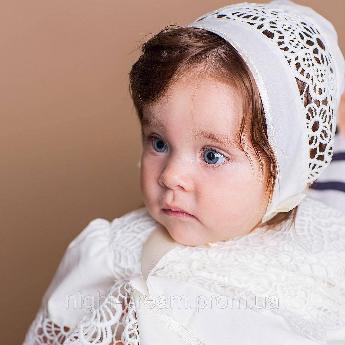 Детская шапочка Глаша (Глафира) от Miminobaby  40-44 см молочная