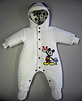 """Комбинезон утепленный для новорожденных с капюшоном велюровый """"Микки"""""""