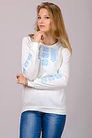 Женская трикотажная блузка-вышиванка (молочно-белая)