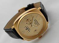 Мужские часы Panerai Luminor GMT черный ремешок, цвет золото