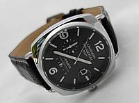 Мужские часы Panerai Luminor GMT черный ремешок и циферблат, цвет серебро