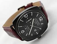 Мужские часы Panerai Luminor GMT черный ремешок и циферблат, цвет черный