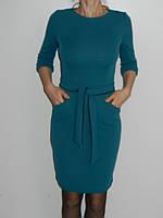 Платье в офис однотонное с карманами и поясом бирюзовое Riil Турция р. S
