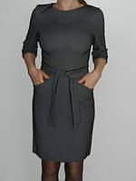 Платье в офис однотонное с карманами и поясом графит Riil Турция р. М