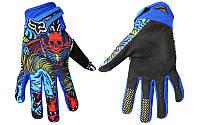 Мотоперчатки , вело рукавиці, закрытые FOX (р-р M, L, XL) , (blue-black)
