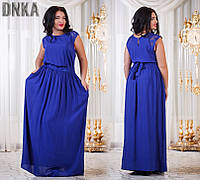 Длинное платье большие размеры короткий рукав и карманы