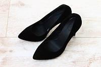 Туфли женские классические на шпильке замшевые черные