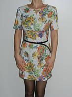 Платье лето 2016 цветочный принт белое розовое Exclusive 113-1 рр. S, M, L