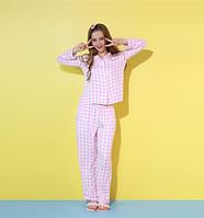 Розовая пижама в белый горох