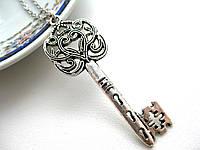 Серебристый ключик на цепочке, подвеска ключ для влюбленных, кулон ключик от сердца
