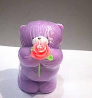 Мишка с розой - мыло ручной работы на подарок