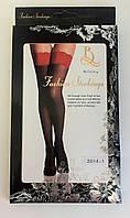 Эротичные чулки с широкой кружевной резинкой Beileisi № 2014-1 (черные с красной резинкой)