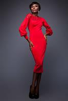 Платье Богини с Перфорацией Миди с Длинным Рукавом Красное р. S-XL