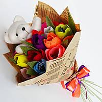 Букет из конфет с мишкой для женщины