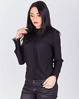 Креп-шифоновая блуза с воротником стойка