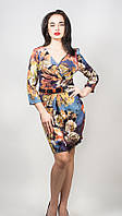 Элегантное женское платье цветочный рисунок с поясом 9277 р.44-46 S14