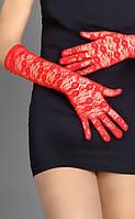 Кружевные перчатки красные