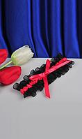 Подвязка на ножку черная с красным