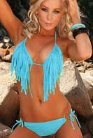 Раздельный купальник с бахромой голубой, белый