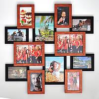 """Оригинальная мультирамка из дерева """"Путешествие"""" на 12 фото, 70х70см (разные цвета)"""