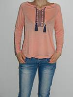 Блузка с вышивкой хлопок персиковая Divon 4760 Турция рр. S
