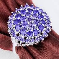 Кольцо для лэди,синий топаз,ручной работы серебра 925 пр.,19р