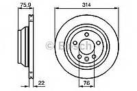"""Гальмівний диск vw multivan/touareg 314mm """"03 (производство Bosch ), код запчасти: 0986479094"""