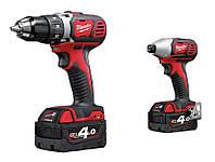 Набор инструментов: дрель-шуруповерт + электро-отвёртка 18 В 2 x 4,0 ah red li-ion powerpack m18bpp2d-402c Milwaukee
