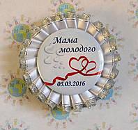 Значок для свадьбы с двойной розеткой Белое серебро 915