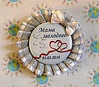 Значок для свадьбы с двойной розеткой Белое серебро с бантом 916