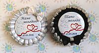 Два значка для свадьбы с двойной розеткой с бантиками 920