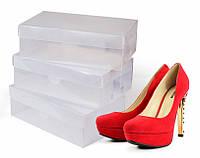 Пластиковые коробки для хранения обуви, набор 3 штуки, Прозрачные (30х18,5х10см)