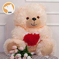 Плюшевый медвежонок с сердцем, 70 см, кремовый