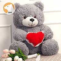 Плюшевый медвежонок с сердцем, 70 см, серый