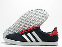 Кроссовки мужские Adidas Gazelle темно-синие с красным (адидас газель)