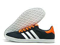 Кроссовки мужские Adidas Gazelle темно-синие с оранжевым (адидас газель)