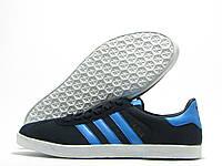 Кроссовки мужские Adidas Gazelle темно-синие с голубым (адидас газель)