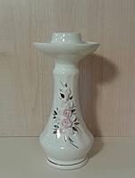 Керамический Подсвечник Одинарный, Белый Глянец с Розами, 14 см.