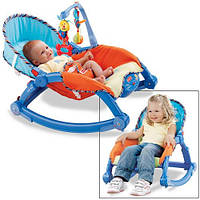 Кресло-качалка для детей от 0 до 18 кг аналог Fisher Price deluxe 2 в 1 с вибро