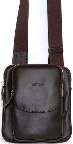 Мужская гладкая сумка через плече коричневая из натуральной кожи VATTO MK12Kaz400