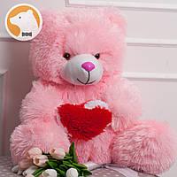 Плюшевый медвежонок с сердцем, 70 см, розовый
