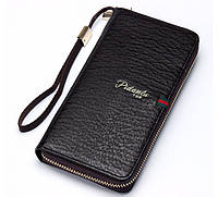 Мужской стильный портмоне клатч  PIDANLU TOP черного цвета